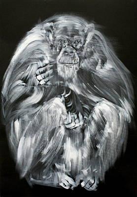A Mighty Calmness Seated #chimpanzee Original by Fabrizio Cassetta