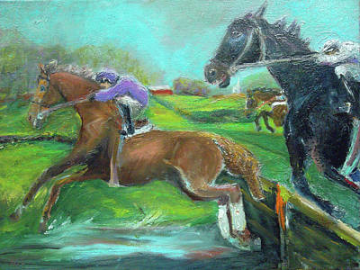 Steeplechase Race Painting - A Mile Out by Susan Esbensen