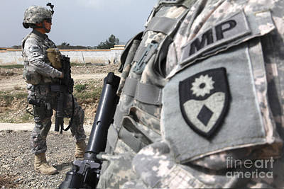 A Military Police Officer Provides Print by Stocktrek Images