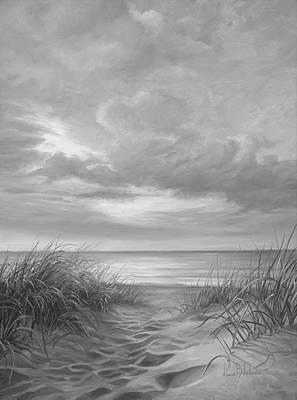 Cape Cod Beach Painting - A Moment Of Tranquility - Black And White by Lucie Bilodeau