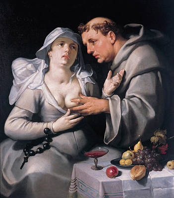 Cornelis Van Haarlem Painting - A Monk And A Nun by Cornelis van Haarlem