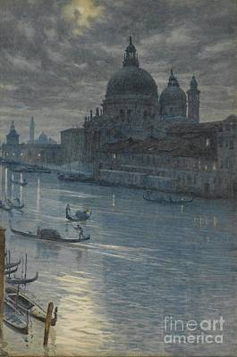 A Moonlight Scene, Venice Print by Celestial Images
