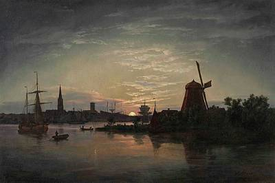 A Moonlit Night At Swinemnde Print by Johan Christian