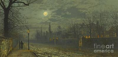 Grimshaw Painting - A Moonlit Walk by John Atkinson