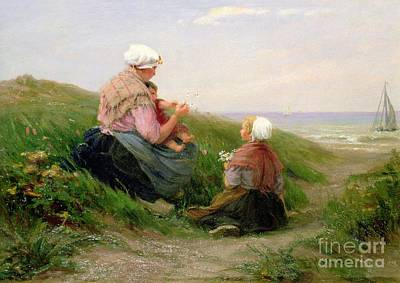 Bonnet Painting - A Mother And Her Small Children by Edith Hume