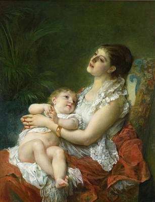 Adolphe Jourdan Painting - A Mother's Embrace by Adolphe Jourdan
