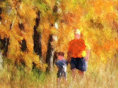 A Mother's Love - Impressionist Portait Of Mother And Son Print by Rayanda Arts