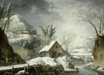 Francesco Foschi Painting - A Mountainous Winter Landscape With Figures Collecting Water From A Stream by Francesco Foschi