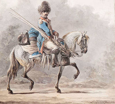 Drawing - A Mounted Cavalryman by Dirk Langendijk