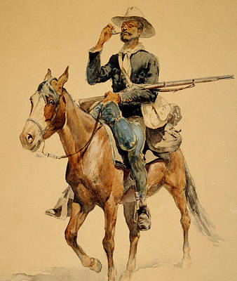 Stallion Drawing - A Mounted Infantryman by Frederic Remington