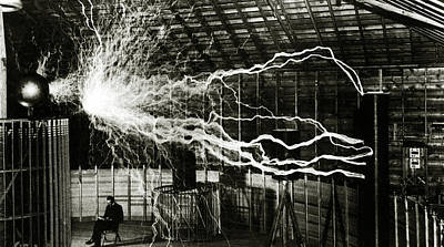 A Multiple Exposure Picture Of Tesla With His Magnifying Transmitter Print by American School