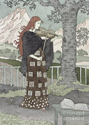 Violin Painting - A Musician by Eugene Grasset