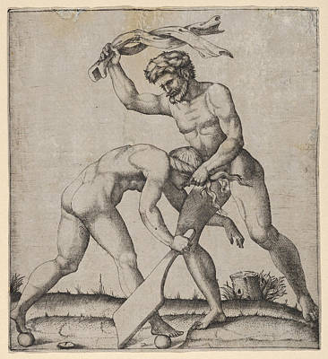 Drawing - A Naked Man Holding Fortune By The Hair And Whipping Her by Marcantonio Raimondi