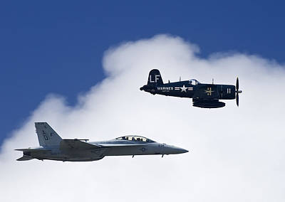 A Navy F-18 And A Wwii Vintage F4u Print by Medford Taylor