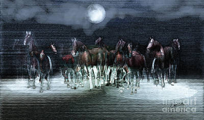 A Night Of Wild Horses Print by Lance Sheridan-Peel