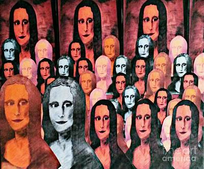 Mona Lisa Mixed Media - A Night Out With Mona by Julia Leadeham