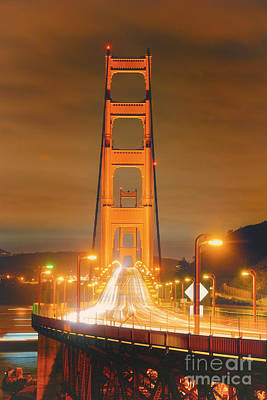 A Night View Of The Golden Gate Bridge From Vista Point In Marin County - Sausalito California Print by Silvio Ligutti