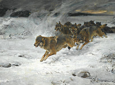 Polish Painters Painting - A Pack Of Wolves by Alfred Kowalski