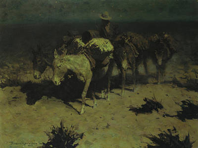 Donkey Painting - A Pack Train by Frederic Remington
