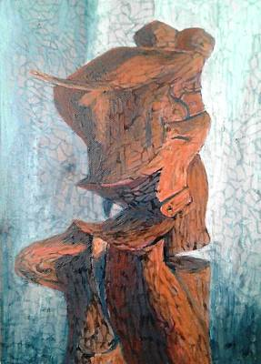 A Painting Of My Cracked Clay Sculpture 1 Original by Simon Wairiuko