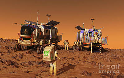 Rendition Digital Art - A Pair Of Manned Mars Rovers Rendezvous by Walter Myers