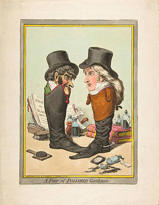 James Gillray Drawing - A Pair Of Polished Gentlemen by James Gillray