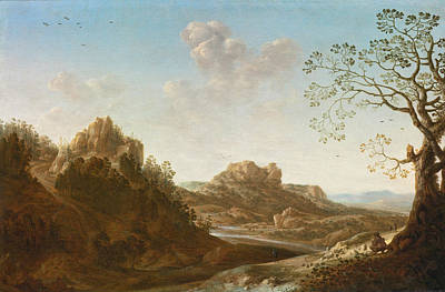 Painting - A Panoramic River Valley Landscape With Figures And Village Below by Herman Saftleven