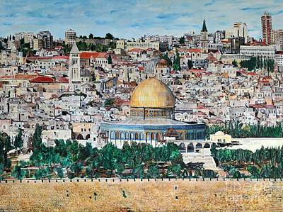 A Panoramic View Of Jerusalem Print by Abraham Zimmermann