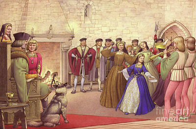 A Party Followed The Arrival Of Catherine Of Aragon In England To Be Married  Print by Pat Nicolle
