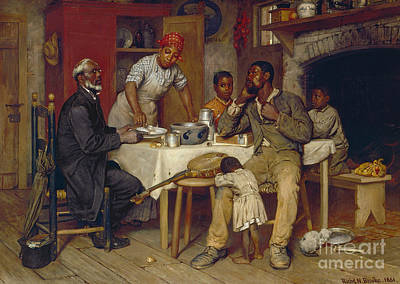 African American. Folk Art Painting - A Pastoral Visit by Richard Norris Brooke