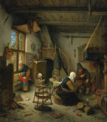 Painting - A Peasant Family In A Cottage After A Meal by Adriaen van Ostade
