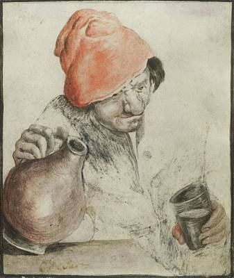 A Peasant With Jug And Cup Print by MotionAge Designs