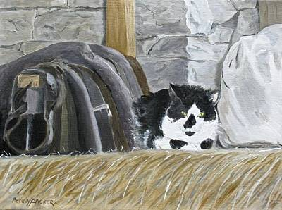 Bales Painting - A Penns Valley Barn Kitty by Barb Pennypacker