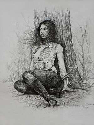Brunette Drawing - A Pensive Mood by Harvie Brown