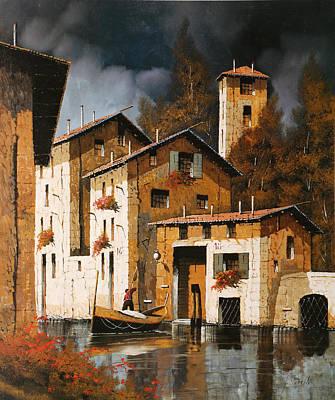 River Scenes Painting - A Pesca Con La Luna by Guido Borelli