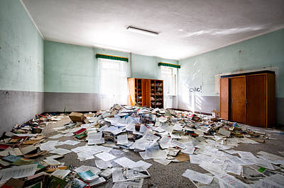 A Pile Of Knowledge - Abandoned School Building Print by Dirk Ercken