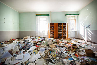 A Pile Of Knowledge - Abandoned School Print by Dirk Ercken