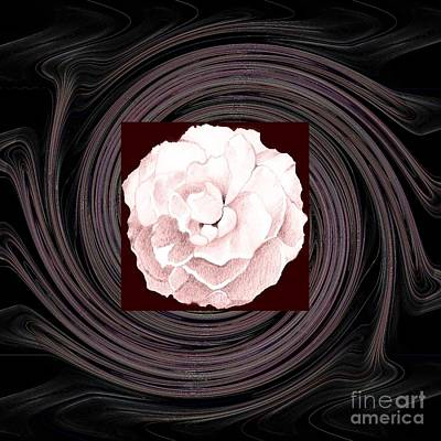 Important Mixed Media - A Pink Rose And The Bigger Picture by Helena Tiainen