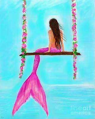Swing Painting - A Pink Swing Beauty by Leslie Allen