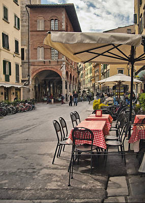 A Pisa Cafe Print by Sharon Foster