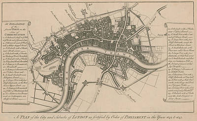 Seventeenth Century Drawing - A Plan Of The City And Suburbs Of London In 1642 by English School