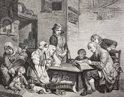 Bible Drawing - A Poor Family Gathers Around As The by Vintage Design Pics