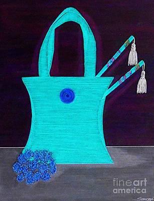 Tassel Digital Art - A Purse For Mei Ling -- Turquoise Negative by Jayne Somogy