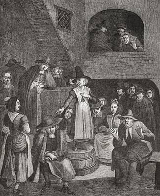 Seventeenth Century Drawing - A Quaker S Meeting In The Seventeenth by Vintage Design Pics