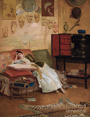 Bookworm Painting - A Quiet Read In A Chinoiserie Interior by Georges Croegaert