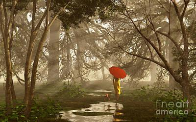 Walking The Dog Digital Art - A Quiet Walk After A Rainy Day by Diana Voyajolu