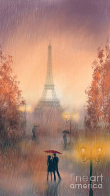 A Rainy Evening In Paris Print by John Edwards