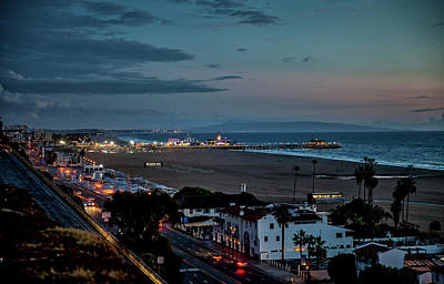 Rollercoaster Photograph - A Rainy Night In Santa Monica by Gene Parks