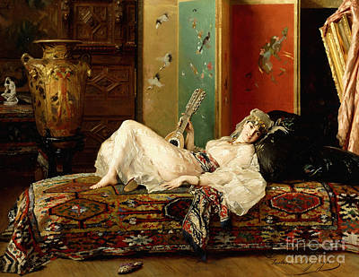 African Erotic Painting - A Reclining Odalisque by Gustave Leonard de Jonghe