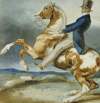 A Rider And His Rearing Horse Print by Theodore Gericault
